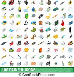 100 painful icons set, isometric 3d style