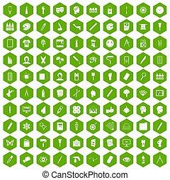 100 paint icons hexagon green