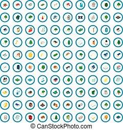 100 park icons set, isometric 3d style