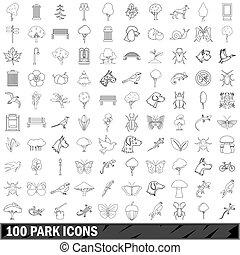 100 park icons set, outline style