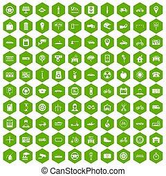 100 parking icons hexagon green