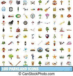 100 parkland icons set in cartoon style for any design vector illustration
