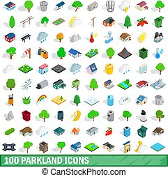 100 parkland icons set in isometric 3d style for any design vector illustration