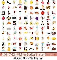 100, partie bachelorette, icônes, ensemble, plat, style
