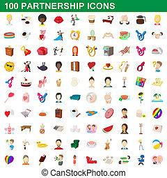100 partnership icons set, cartoon style