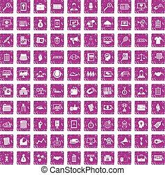 100 partnership icons set grunge pink