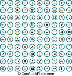 100 party icons set, flat style