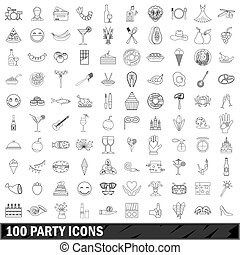 100 party icons set, outline style