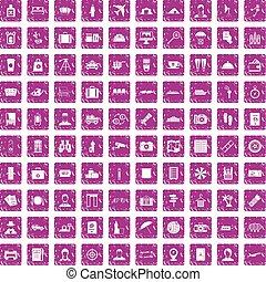100 passport icons set grunge pink