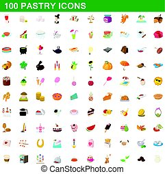 100 pastry icons set, cartoon style