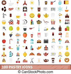 100 pastry icons set, flat style