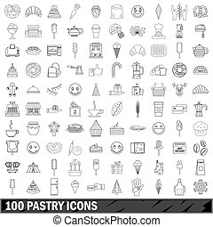 100 pastry icons set, outline style