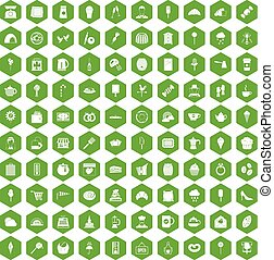 100 patisserie icons hexagon green
