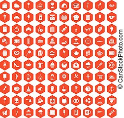 100 patisserie icons hexagon orange