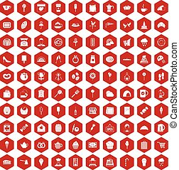 100 patisserie icons hexagon red