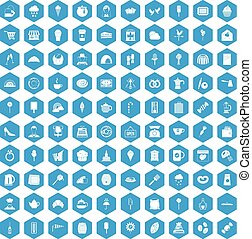 100 patisserie icons set blue