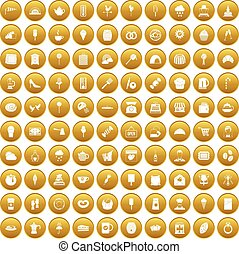 100 patisserie icons set gold
