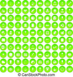 100 patisserie icons set green circle