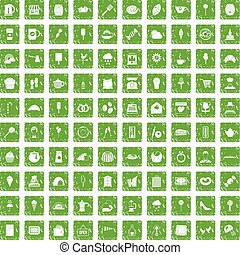 100 patisserie icons set grunge green