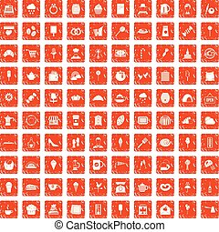 100 patisserie icons set grunge orange