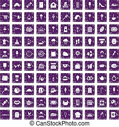 100 patisserie icons set grunge purple