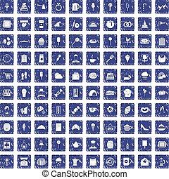 100 patisserie icons set grunge sapphire