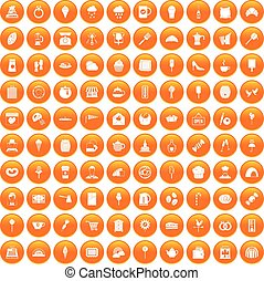 100 patisserie icons set orange