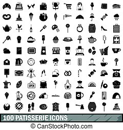 100 patisserie icons set, simple style