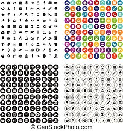 100 patisserie icons set vector variant