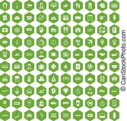 100 paying money icons hexagon green