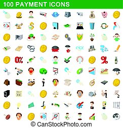 100 payment icons set, cartoon style