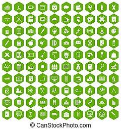 100 pensil icons hexagon green