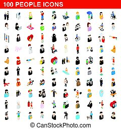 100 people icons set, isometric 3d style