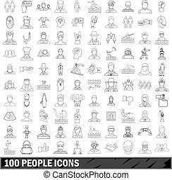 100 people icons set, outline style