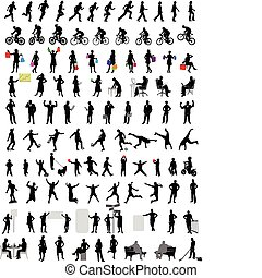 100 people silhouettes - 100 different people silhouettes -...
