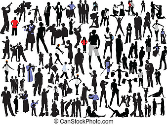 100 people silhouettes. Vector colored and black and white ...