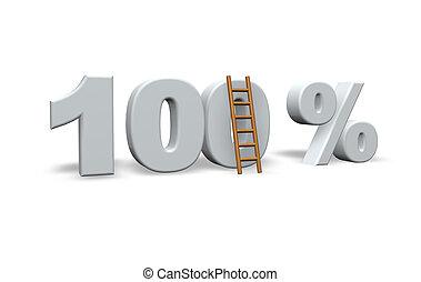 0ne hundred per cent and a ladder - 3d illustration