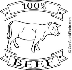 100 percent beef label - 100 percent beef food icon of a cow...