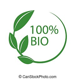 100 percent bio circular label. Abstract circle from green leaves logo element vector design. Ecology simple flat sticker natural symbol.