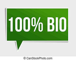 100 percent bio green speech bubble