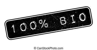 100 percent bio rubber stamp on white. Print, impress,...