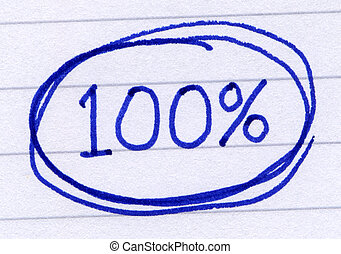100 percent circled, written in blue ink on white paper.