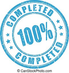 100 percent completed rubber stamp