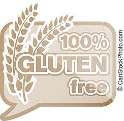 100 percent gluten free sticker or logo