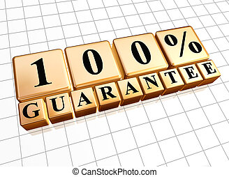 100 percent guarantee golden boxes with black letters