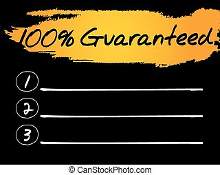 100 Percent Guaranteed Blank List, vector concept