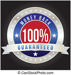 100 percent money back guaranteed badge, vector format