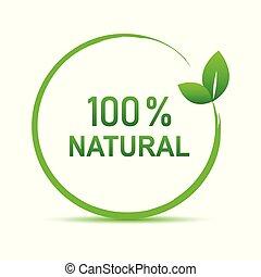 100 percent natural green symbol with leaf