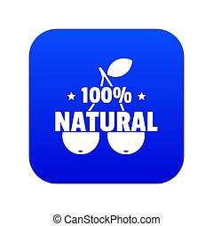 100 percent natural icon blue