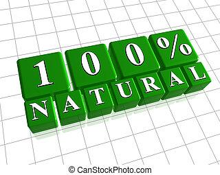 100 percent natural in 3d green cubes
